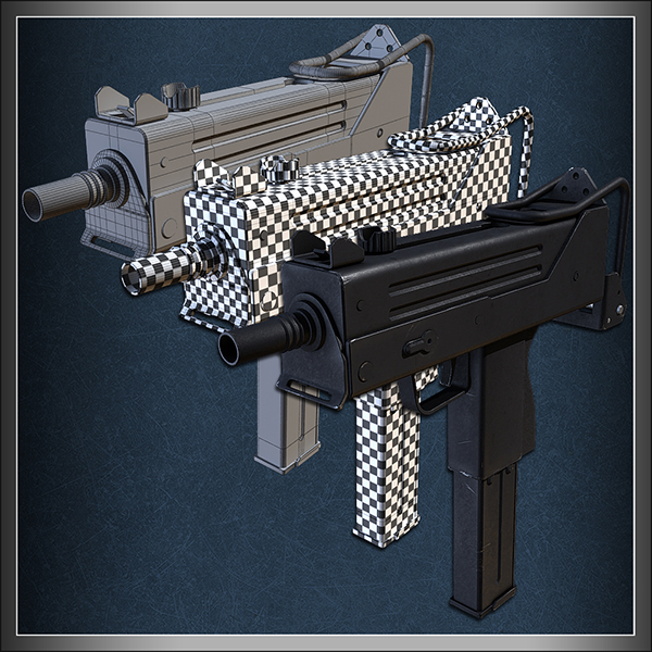 CG Tuts textured machine gun