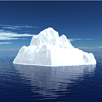 Animate an Iceberg Turning into a Desert Island